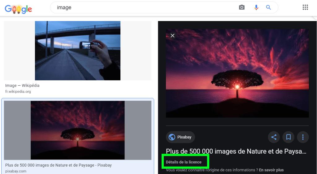 google images détails de la licence