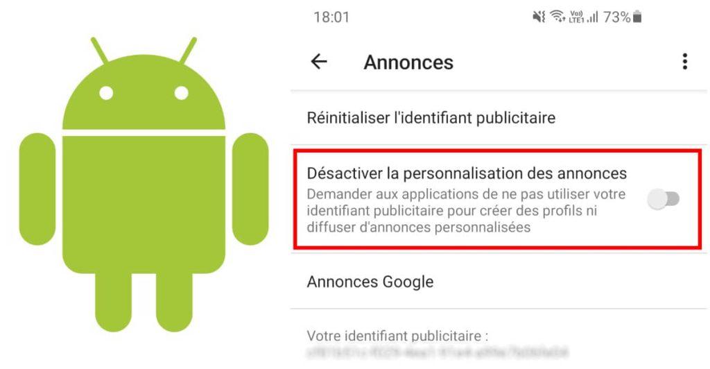 désactiver la personnalisation des annonces sur android