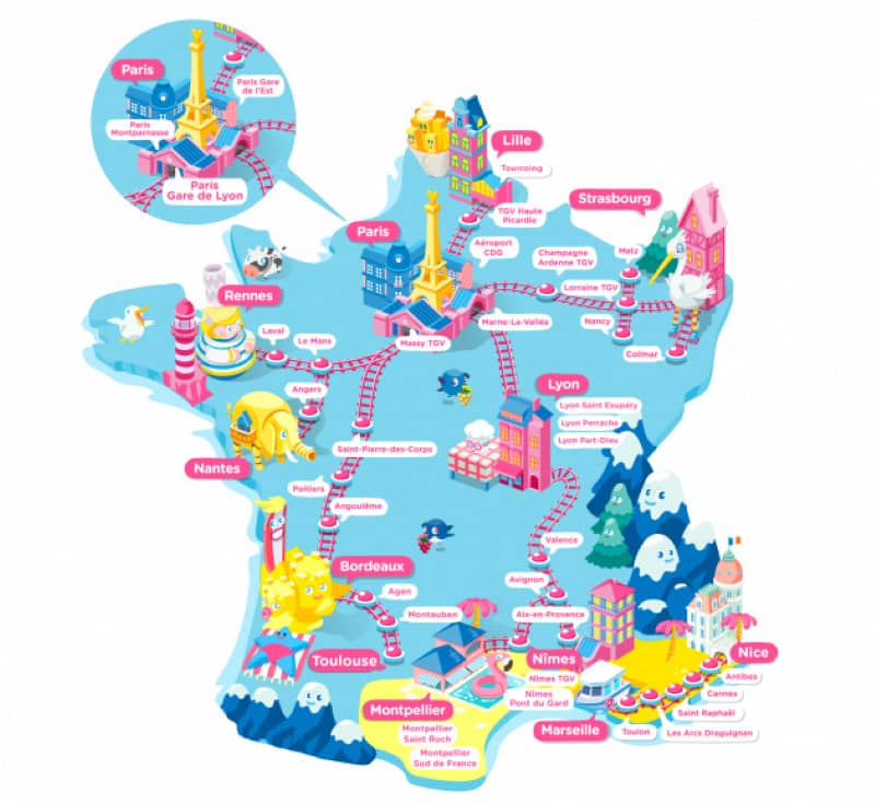 Ouigo : carte de France 2021 des gares de destinations des villes desservies