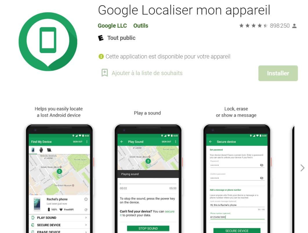 Google Localiser mon appareil android