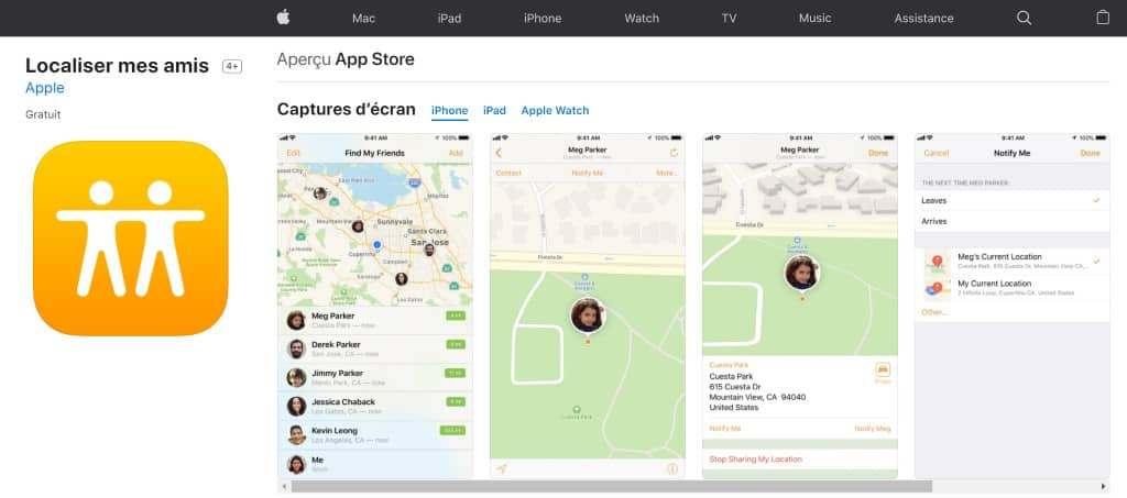 application iphone Localiser mes amis App store