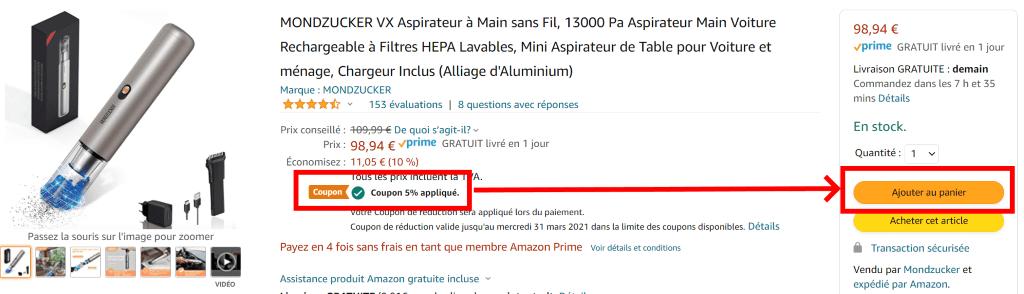 coupon amazon mondzucker vx mini aspirateur à main