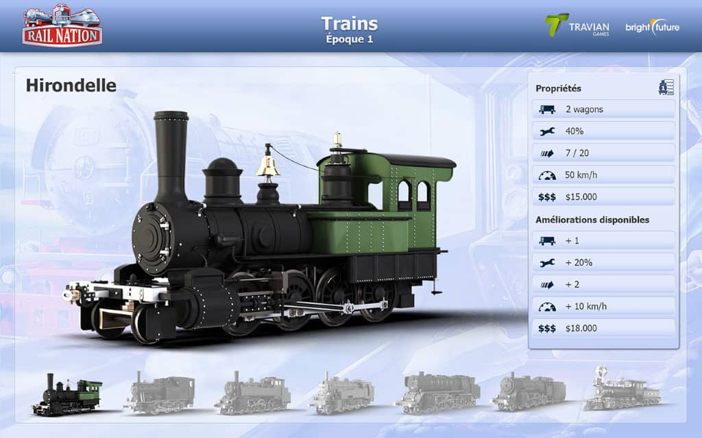 Train dans le jeu Rail Nation
