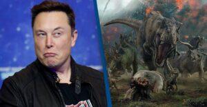Elon Musk à côté d'un dinosaure