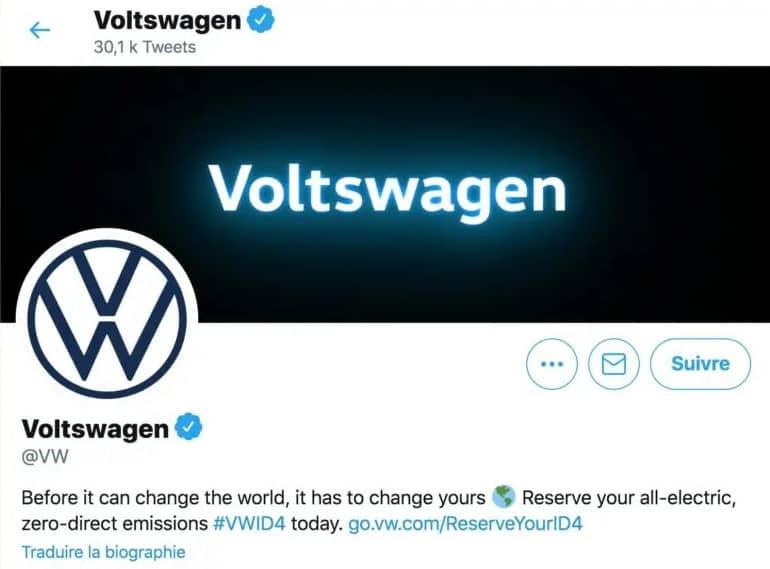 poisson d'avril 2021 : Volkswagen devient Voltswagen