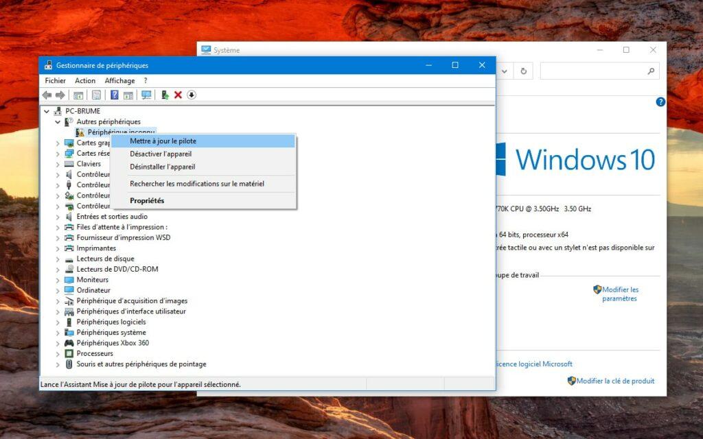 gestionnaire des périphériques Windows 10