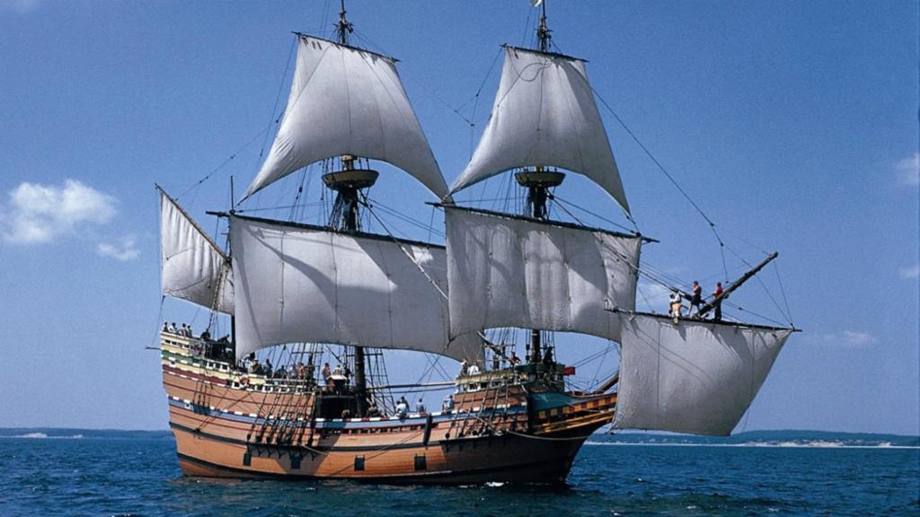 Le navire Mayflower 1620 en image