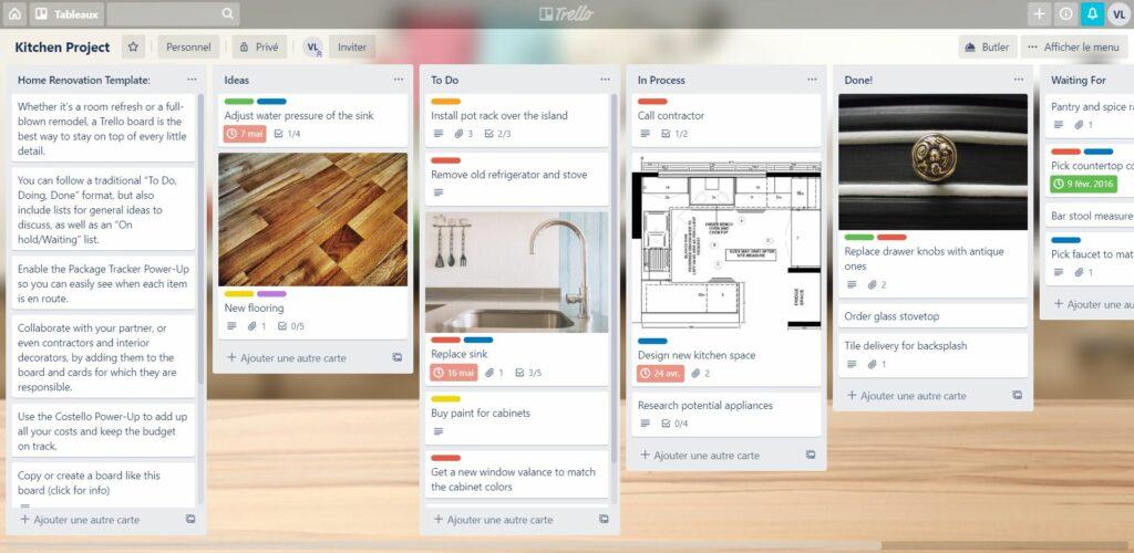 Un tableau Trello, logiciel collaboratif pour les travaux à distance.