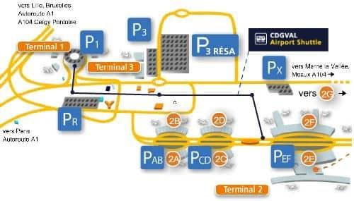 plan parking aéroport aéroport Charles de Gaulle CDG