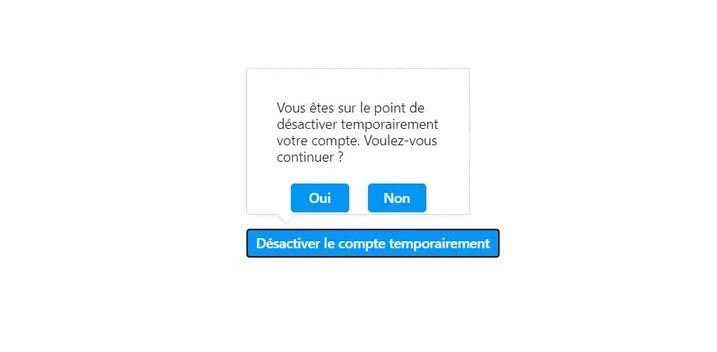 Confirmation désactivation temporaire
