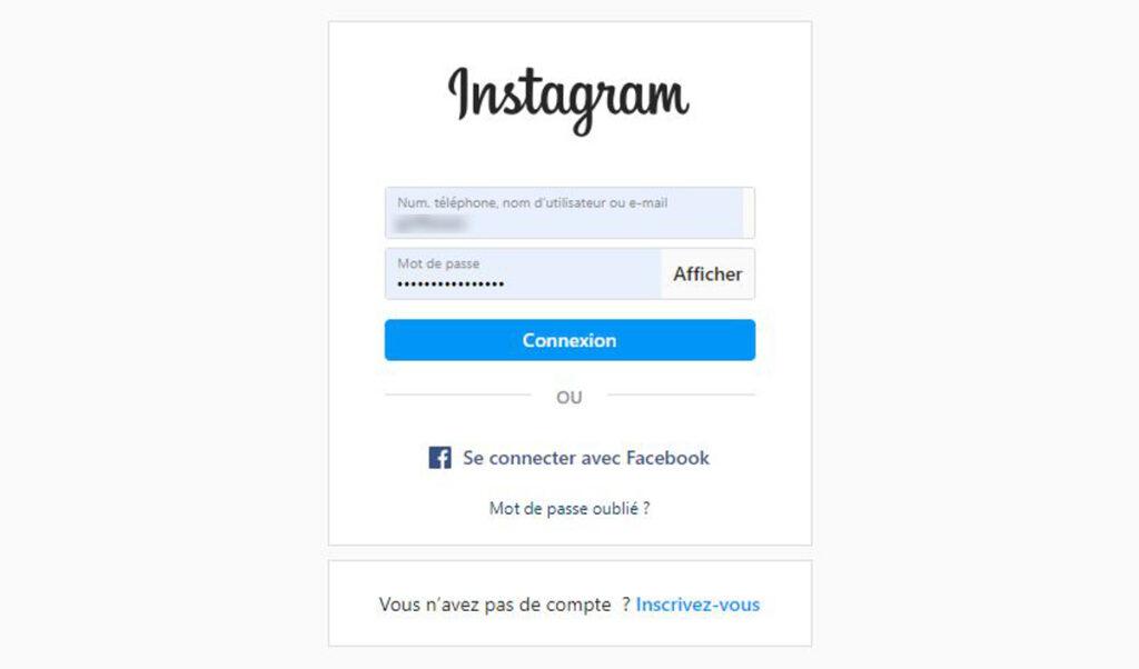 Connexion compte instagram