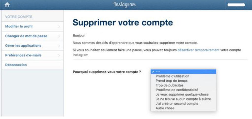 Rasions suppression compte instagram