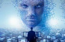 Homme devant une IA dans une singularité technologique