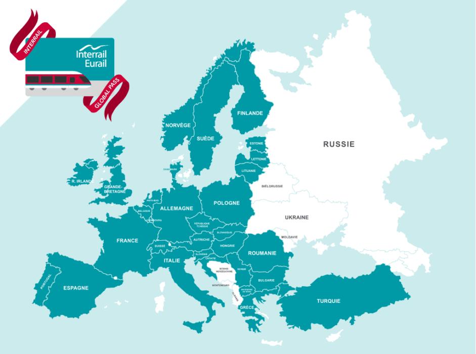 pass interrail : carte europe