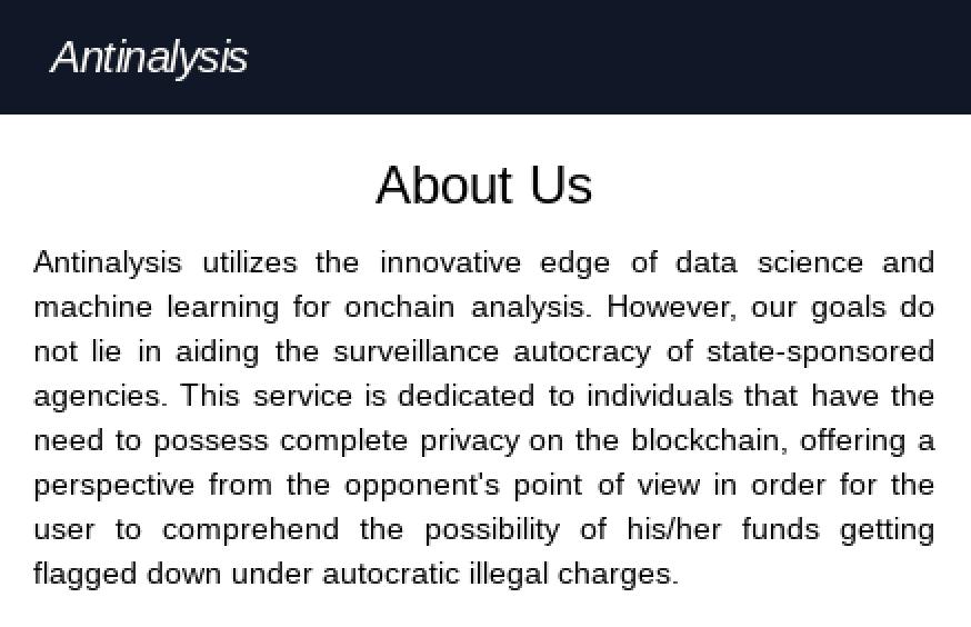 La description d'Antinalysis.