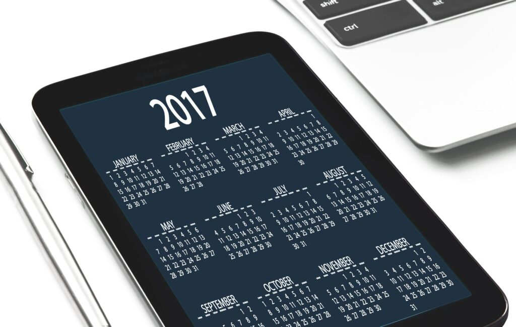 calendrier sur téléphone études