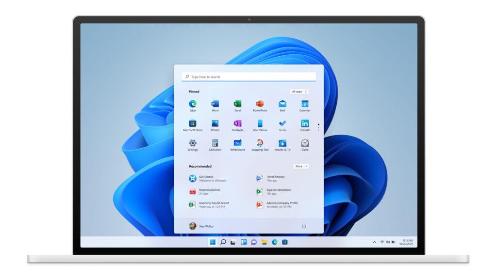 Design et menu démarrer de Windows 11