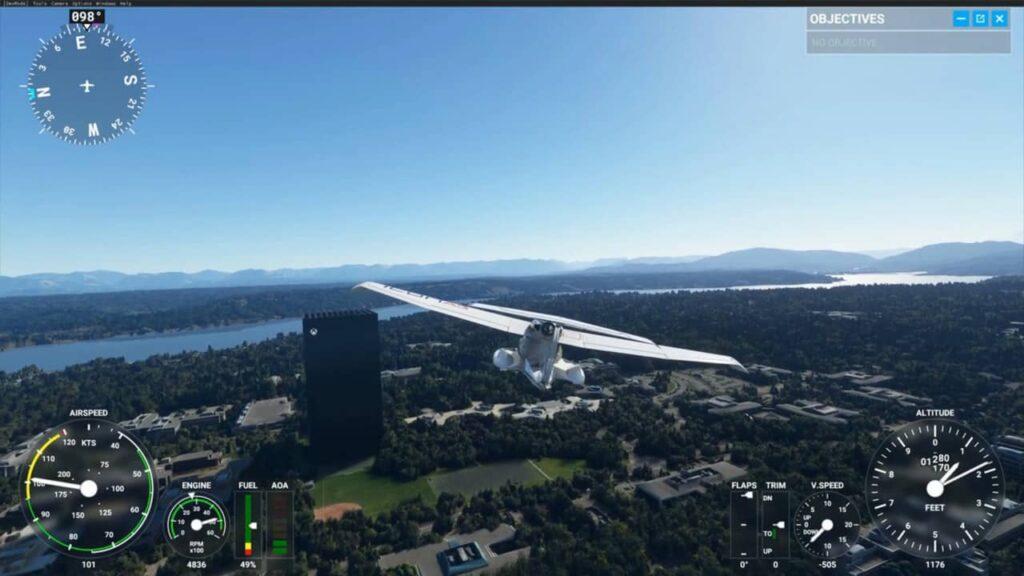 Miscrosoft Flight Simulator affiche un paysage extrêmement détaillé.