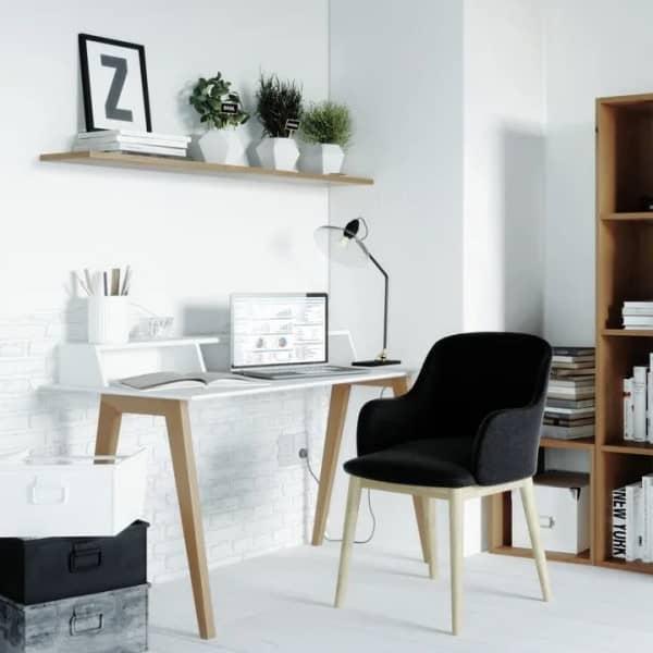 Bureau blanc 3 niches style scandinave