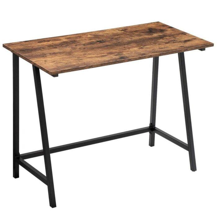 bureau en métal et bois façon établi