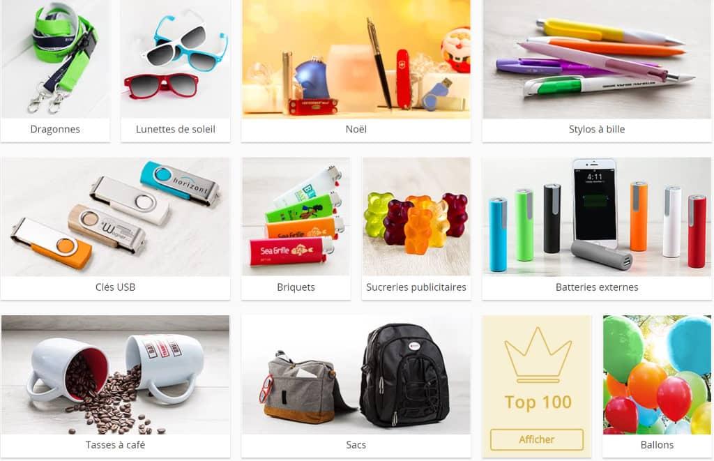 différents types d'objets publicitaires