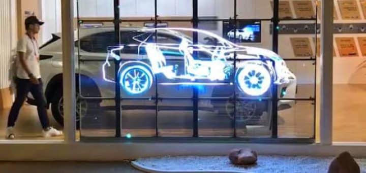 écran transparent led showroom automobile