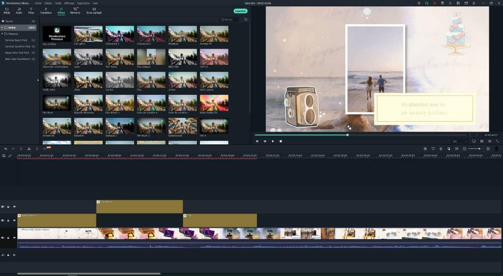 filmora wondershare : filtres et effets vidéo